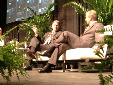 """Ernst & Young CEO James Turley, left, speaking to IberiaBank President Daryl Byrd at Tulane University's Burkenroad Institute Symposium On Business & Society, where the theme was """"The Ethics of Transparency in the Global Business Environment,"""" on Feb. 22, 2013."""