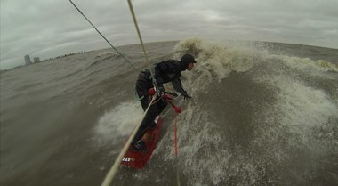 Chris Stuckey, creator of Maritant.com, is also an avid kiteboarder. Here, he braves the waters of Lake Pontchartrain during a recent cold snap.