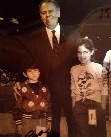 Ryan and Rita LeBlanc with their grandfather, Tom Benson, in 1987. (Photo courtesy Renee Benson family)
