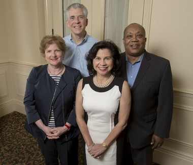 Members of the 2015 Loving Cup selection committee are, from left to right: Martha M. Landrum, Greater New Orleans Foundation; James R. Kelly, Covenant House; Sonia Perez, AT&T Louisiana and Xavier University Board of Trustees; and Neil Barclay, Contemporary Arts Center. Not pictured: Mark Romig, New Orleans Tourism Marketing Corporation.