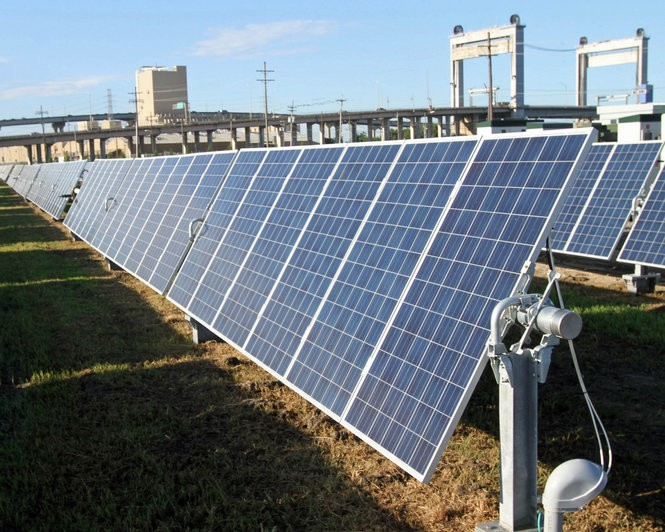 Rows of solar panels face the sun at the new Entergy New Orleans solar power plant in New Orleans East Wednesday, Sept. 14, 2016. The plant has more than 4,200 panels and the capacity to generate about one megawatt of electricity. (Photo courtesy Entergy New Orleans)