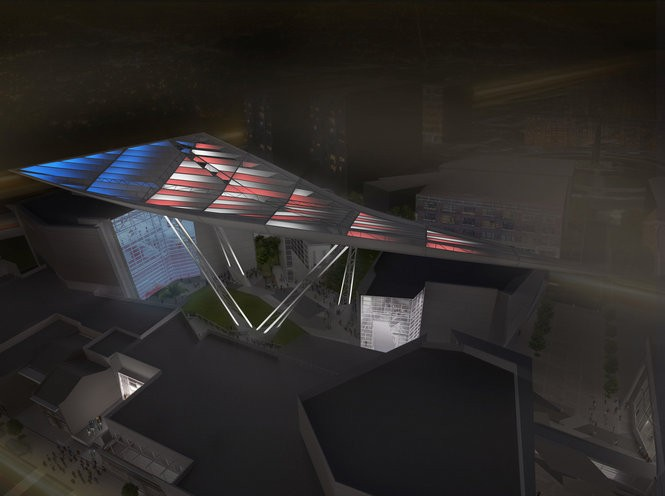 This computer rendering provided by The National World War II Museum, shows what the Bollinger Canopy of Peace is proposed to look like. The building is one of two new structures being added to the National World War II Museum campus to provide additional exhibition space, classrooms, a library offices and retail.