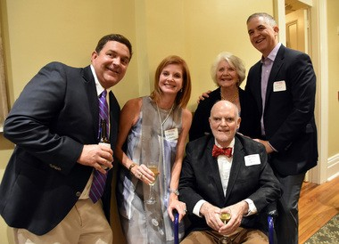 Benefactor George Villere, seated, attended the Oct. 20, 2016, dedication of Mathilde Bernard Villere Hall at the Louise S. McGehee School in New Orleans. With him are, left to right, Chris Villere, Mathilde Villere Currence, Fran Villere and Lamar Villere.
