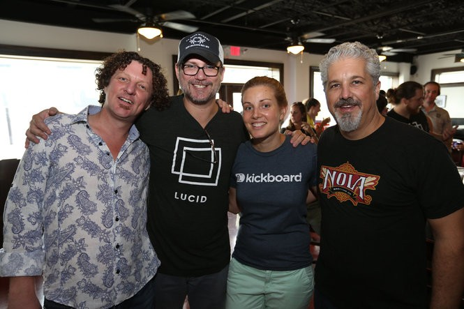 Patrick Comer, founder and CEO of Lucid, second from left, stands with Brent McCrossen, Patrick Comer, Jen Medbery and Kirk Coco at Idea Village's 2nd annual Entrepalooza in New Orleans, LA, Aug. 30, 2015. (Photo by Eliza Morse, for NOLA.com | The Times-Picayune)