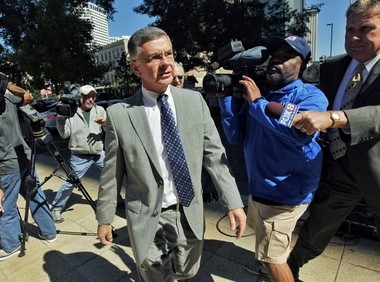 Former St. Tammany Parish Coroner Peter Galvan in this photo from October arriving at the courthouse to plead guilty.