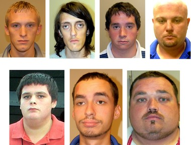 The seven arson suspects are, top left, Joshua Allen, Kevin Barbe, Joshua Briscoe and Dusten Davenport, and bottom left, Jerry Hamblen, Joseph Landin and Bryon Meek.