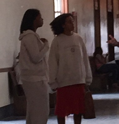 Solange Knowles (right) and a friend at the Orleans Parish Criminal District courthouse on Thursday (April 9).