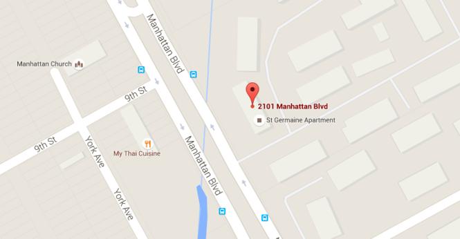 Google Map of area around Harvey apartment complex.