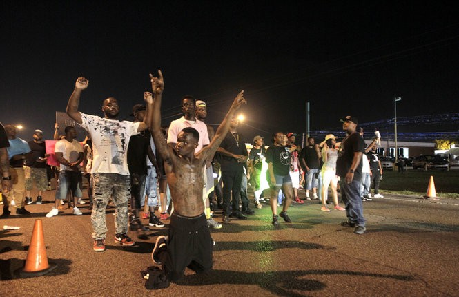 Demonstrators protest the shooting death of Alton Sterling along Airline Highway in Baton Rouge on Saturday, July 9, 2016. Some protesters blocked Airline Highway causing law enforcement to clear the highway. (Photo by Brett Duke, Nola.com | The Times-Picayune)