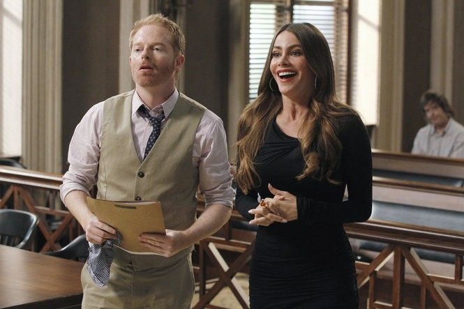 "This publicity image released by ABC shows Jesse Tyler Ferguson, left, and Sofia Vergara in a scene from ""Modern Family."" Vergara was nominated for a Golden Globe for best supporting actor in a series, mini-series or TV movie for her role in the series on Thursday, Dec. 12, 2013. (AP Photo/ABC, Peter ""Hopper"" Stone)"