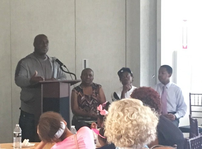 Myles Washington, who served jail time in Louisiana and California, speaks at Mass Story Lab. To Washington's right is Sheila Phipps, the mother of imprisoned No Limit Rapper Mac Phipps; Gerald Davis, who completed a re-entry program at Louisiana State Penitentiary at Angola; and Freedom Richardson, whose father remains incarcerated on a 60-year sentence. (Emily Lane, The Times-Picayune)