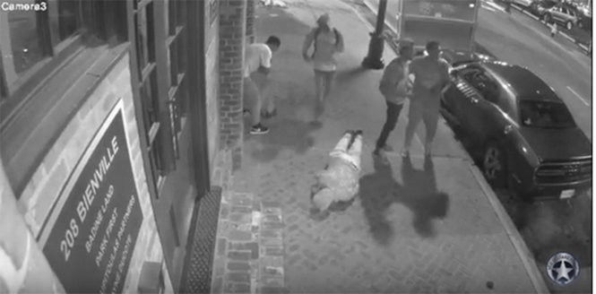 Surveillance video shows two men -- Tim Byrne and James Curran -- attacked by what police said were four suspects during a robbery in the 200 block of Bienville Street in the French Quarter on Saturday, June 24, 2017.