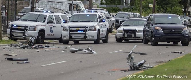 Scene of a multiple fatality police chase and wreck on Chef Menteur Highway near Lonely Oak Drive. (Photo by G. Andrew Boyd, NOLA.com | The Times-Picayune)