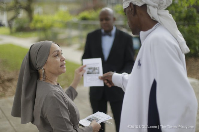Sister Lenora Muhammad hands out flyers about Black Lives Matter activistMuhiyidin Moye's death in Treme on Saturday, March 17, 2018. (Photo by Brett Duke, NOLA.com | The Times-Picayune)