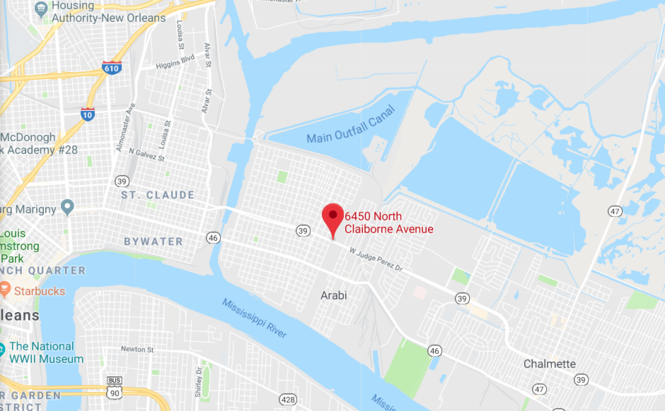 A man and a woman were shot Saturday afternoon in the 6400 block of North Claiborne Avenue in New Orleans' Lower 9th Ward. (Map by Google)