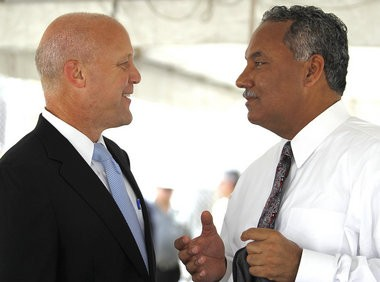 Mayor Mitch Landrieu talks with Orleans Parish Sheriff Marlin Gusman at the groundbreaking ceremony for the intake processing center for Orleans Parish Prison. September 1 2011