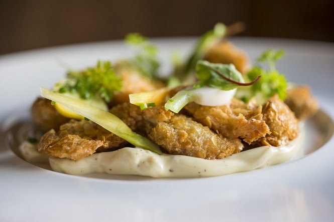 Potato crisp P&J oysters at Restaurant August in New Orleans, Wednesday, Nov. 16, 2016. (Photo by Chris Granger, NOLA.com | The Times-Picayune)