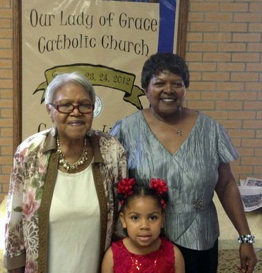 Shelia Fenroy Louper of LaPlace, far right, is pictured May 17, 2015, with her 93-year-old mother, Olivia Fenroy Carter and Louper's granddaughter, Felicity Louper. The family's ties with Our Lady of Grace School stretches back decades. Carter attended St. Catherine School, while Louper was a student and later a teacher at OLG. Felicity attends preschool there.