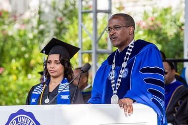 Walter Kimbrough speaks at Dillard University's 2015 commencement.