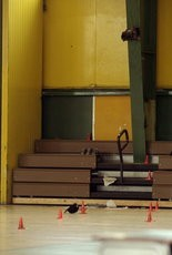 Police cones inthe John McDonogh High gym after the April 14, 2003, shooting.