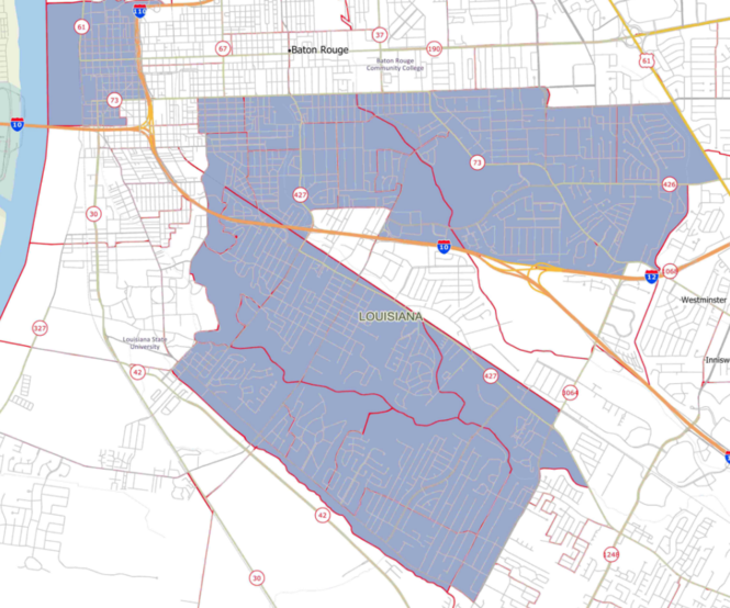 """The area in blue is what political analyst John Couvillon calls the """"Gissel Belt,"""" an area made up of largely well-educated moderate voters who were the difference in Sharon Weston Broome winning the Baton Rouge mayoral election. (Courtesy JMC Enterprises of Louisiana)"""