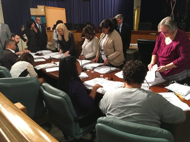 Personnel with the Board of Elections for Orleans Parish recount absentee ballots Thursday, Oct. 19, 2017, from the District C election for New Orleans City Council. Incumbent Nadine Ramsey, who lost by 112 votes Saturday to Kristen Gisleson Palmer, requested the recount. (Photo by Richard Rainey, NOLA.com   The Times-Picayune)
