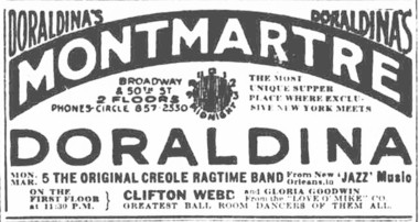 An advertisement for a New York supper club where Freddie Keppard's Original Creole Orchestra performed. From the March 4, 1917, New York Sun.