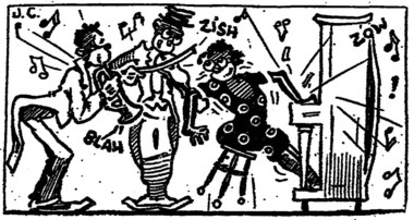A racist caricature in the Feb. 2, 1922, New Orleans Item depicts a plump cornetist playing at Tom Anderson's cabaret.