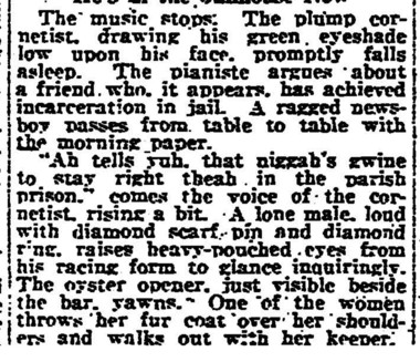 A 'plump cornetist' is quoted in a Feb. 2, 1922, story in the New Orleans Item.