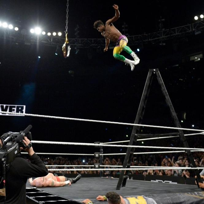 Velveteen Dream gets some height on a spectacular elbow drop.