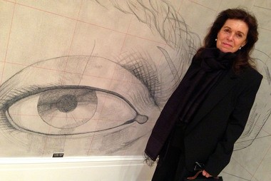 Artist Pat Steir with part of her mural 'Self-Portrait' at the Newcomb Art Gallery.