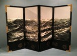 Morning Sea, a four-part embroidered dressing screen by Hashio Kiyoshi from the 1915 San Francisco fair, from the collection of the Allentown Museum of Art, part of the Inventing the Modern World exhibit at the New Orleans Museum of Art.