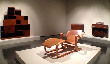 The Skyscraper cabinet, the Long Chair and the Storytone piano, all part of the 'Inventing the Modern World' exhibit at the New Orleans Museum of Art.