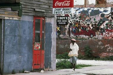 Bruce Brice mural on St. Philip Street in Treme, 1974 (Photo courtesy Ralph Burns)