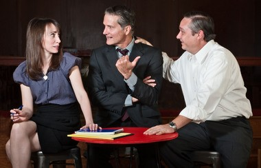 Cecile Monteyne, John Neisler, and Mike Harkins portray the legal team working to appeal the death sentence of Earnest Knighton Jr. in 'Song of a Man Coming Through,' now receiving its world premiere through Southern Rep. (John B. Barrois)