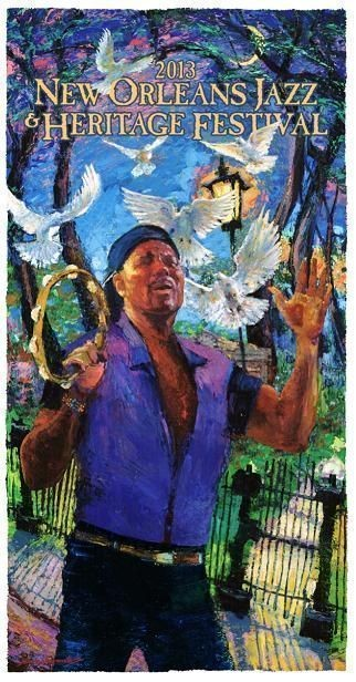 The 2013 Jazz Fest poster, titled 'Heart Song,' is a romantic portrait of Aaron Neville by James Michalopoulos that visually captures the sweet up-sweep of Neville's soaring solos