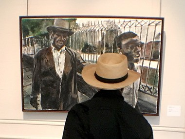 NOMA visitor consider a Bob Dylan painting (Photo by Doug MacCash / NOLA.com | The Times-Picayune)