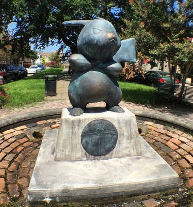Pokemon Go sculpture on Terpsichore Street in New Orleans.