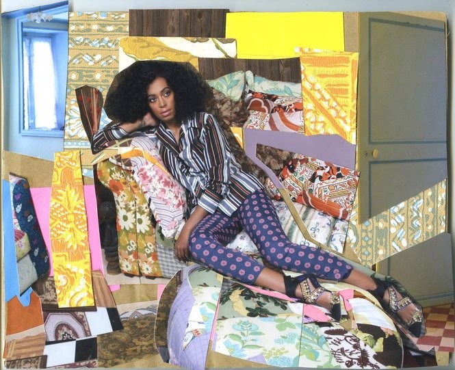 "'Portrait of Solange Thinking About You,"" by Mickalene Thomas, 2013, Color photograph and paper collage on archival board. (Courtesy of the artist and Artists Rights Society ARS)"