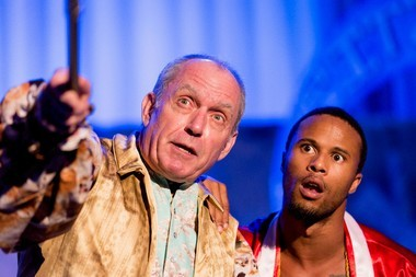 Casanova, played by James Howard Wright, shares his philosophy of life with Kilroy (Christopher B. Robinson) in 'Camino Real.'
