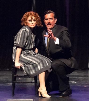 Roxie hart (Vanessa Van Vrancken) gets advice from her attorney, Billy Flynn (Patrick Ryan Sullivan) in 'Chicago.'
