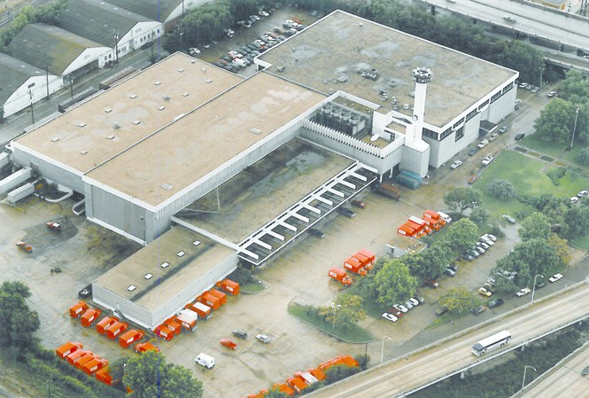 Aerial view of The Times-Picayune building, 3800 Howard Ave. Photo is undated. (The Times-Picayune archive)