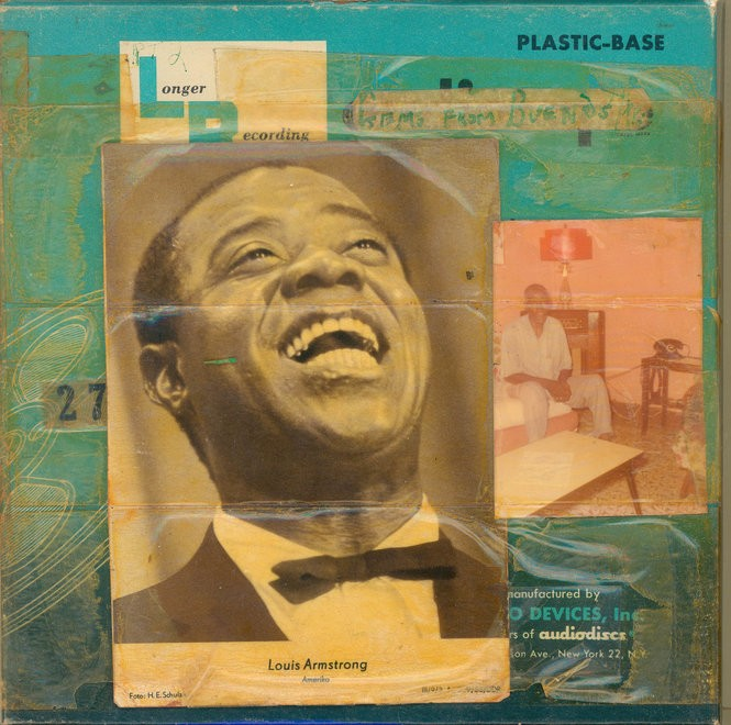 A self-portrait reel-to-reel tape box collage by jazz great Louis Armstrong (Courtesy of the Louis Armstrong House Museum, Queens, New York)