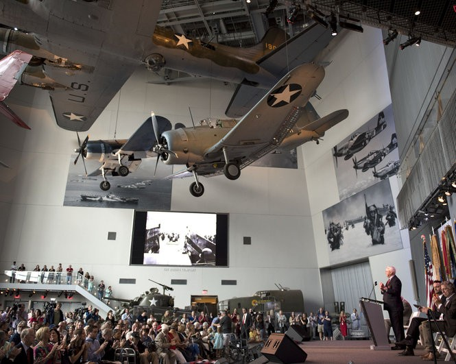 Nick Mueller, President and CEO of The National WWII Museum in New Orleans, speaks during the commemoration ceremony to celebrate the 73rd anniversary of D-Day in the US Freedom Pavillion Tuesday June 6, 2017. (Photo by Frankie Prijatel, NOLA.com   The Times-Picayune)