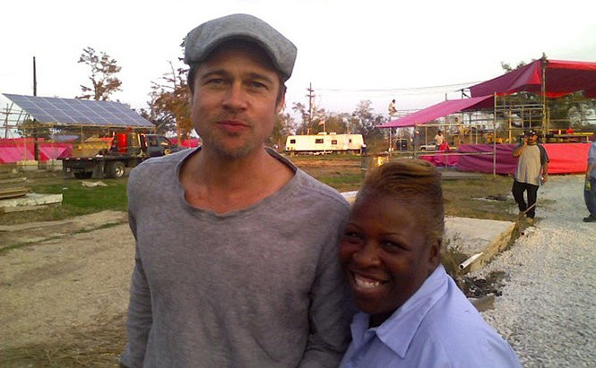 Actor Brad Pitt and 9th Ward resident Janice Porter at the site of the future Make It Right neighborhood in early 2008 (Photo by Doug MacCash, NOLA.com | The Times-Picayune)