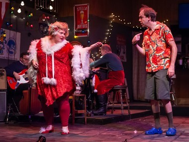 Meredith Long and Ian Hoch play a pair of tourists stranded in Benny's Tavern during a severe blizzard, in 'Mandatory Merriment.'