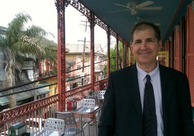 Dag Dog co-owner Constatine Georges stands on the balcony of the new Frenchmen Street location. (Courtesy of Dat Dog)