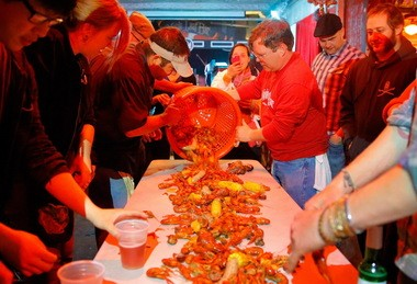 The Maple Leaf crawfish boil with Jason Seither. March 23, 2013.(Photo by David Grunfeld, Nola.com |The Times-Picayune)