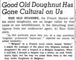 French Market coffee stand doughnuts were rebranded as beignets in 1958, according to columnist Howard Jacobs.