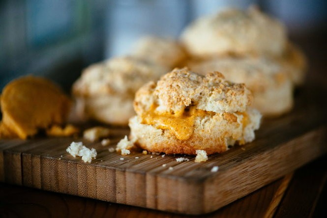 Biscuits made with crab fat butter at Toups South. (Photo by Denny Culbert, courtesy Toups South)